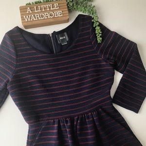 Anthro Maeve Brenna Navy and Maroon Stripe Dress